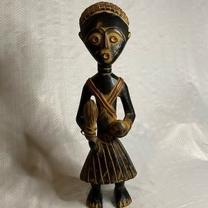 Wood carved African warrior, made in Ghana, Africa
